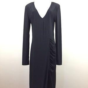 Fashion Nova 1X Black Long Sleeve Slit Hem Dress